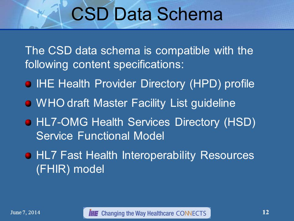 CSD Data Schema The CSD data schema is compatible with the following content specifications: IHE Health Provider Directory (HPD) profile.