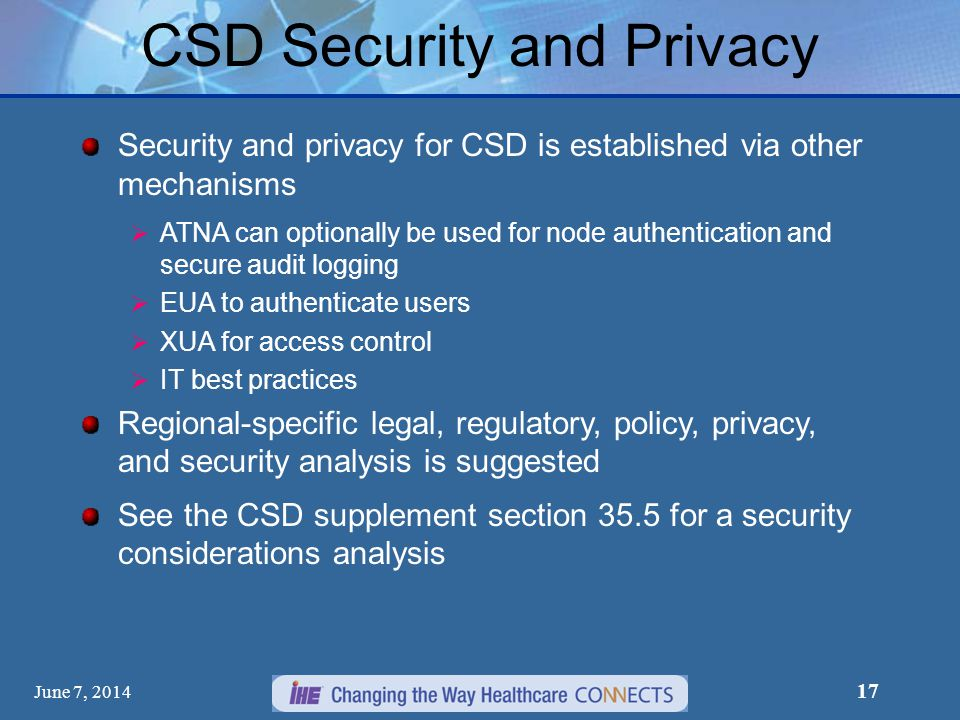CSD Security and Privacy