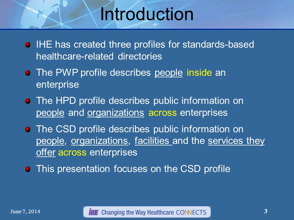 Introduction IHE has created three profiles for standards-based healthcare-related directories.