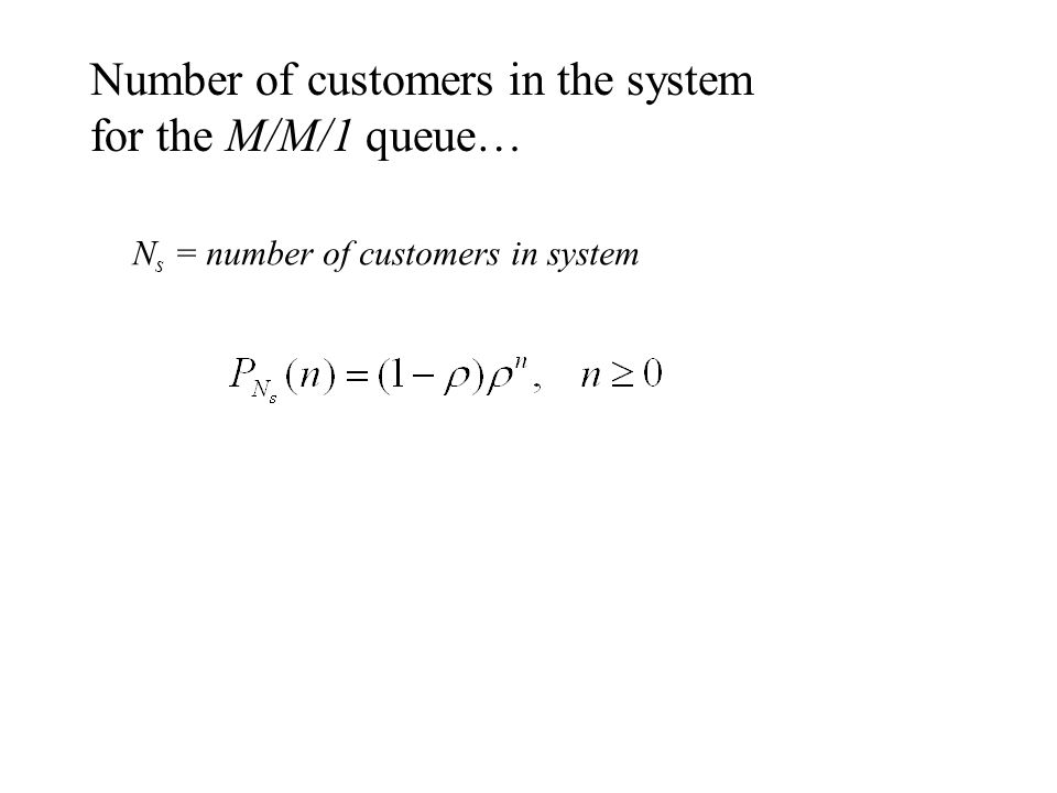 Number of customers in the system for the M/M/1 queue…