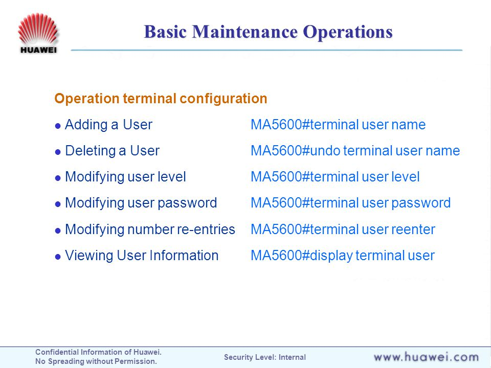 Basic Maintenance Operations
