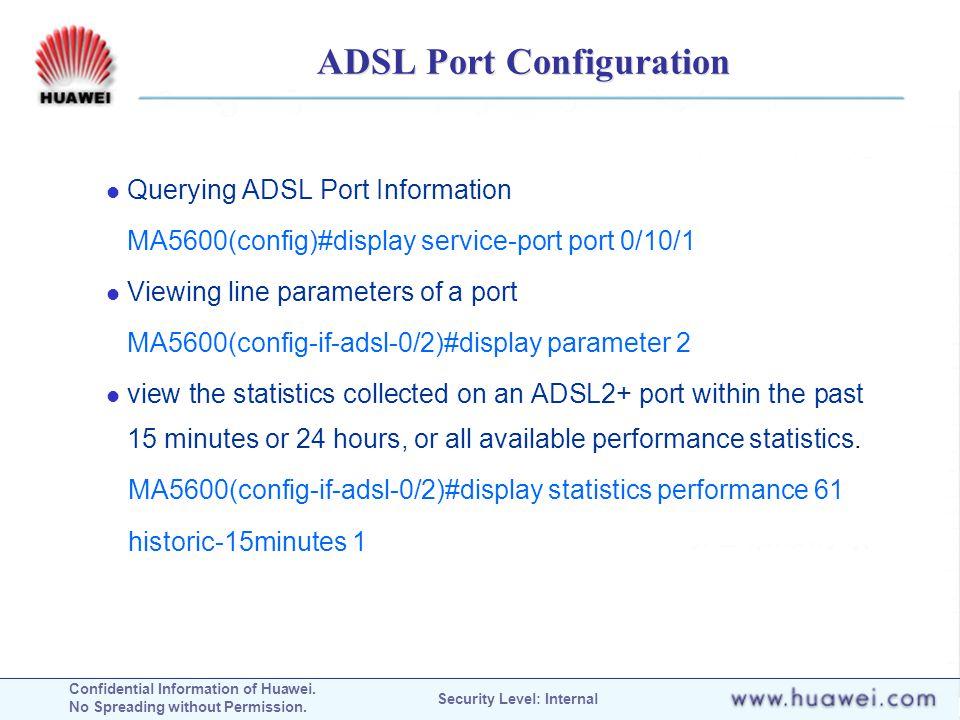 ADSL Port Configuration