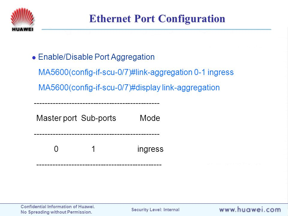 Ethernet Port Configuration