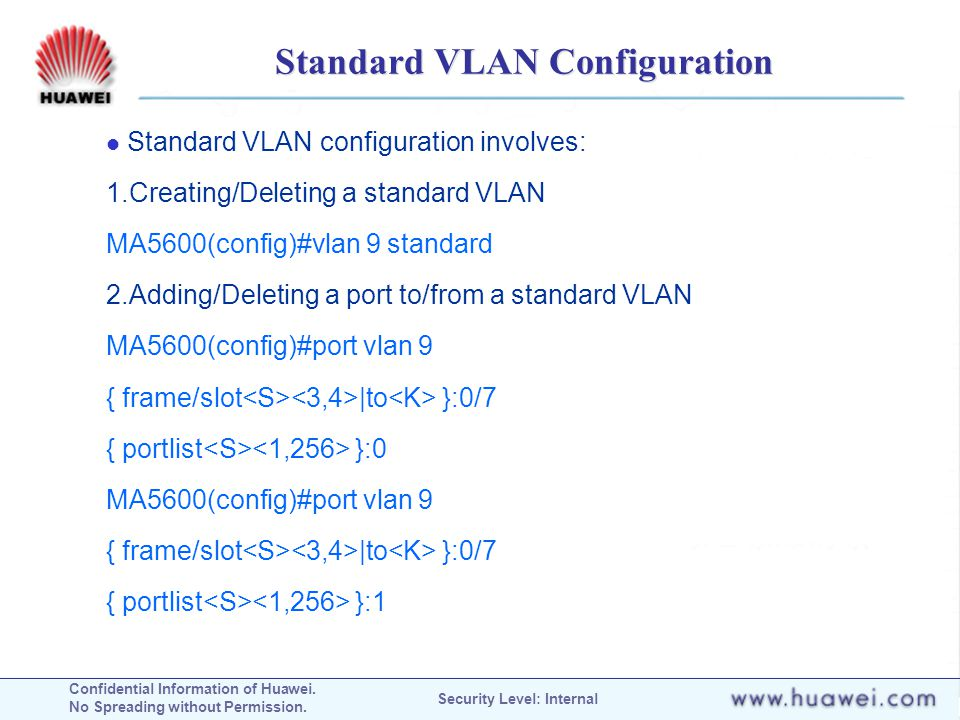 Standard VLAN Configuration