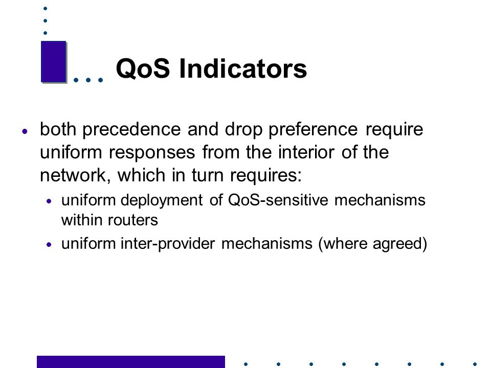 QoS Indicators both precedence and drop preference require uniform responses from the interior of the network, which in turn requires: