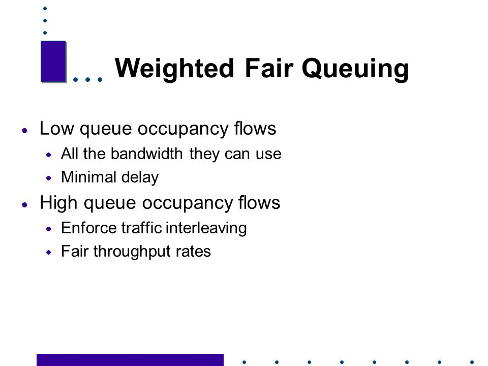 Weighted Fair Queuing Low queue occupancy flows