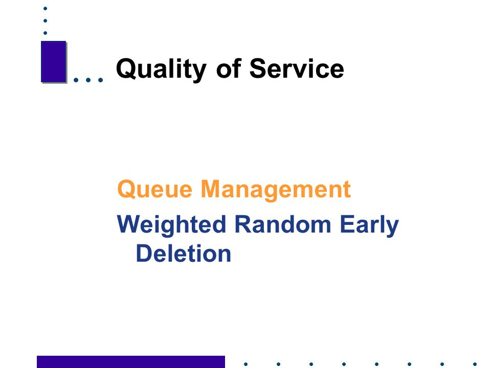Quality of Service Queue Management Weighted Random Early Deletion 54
