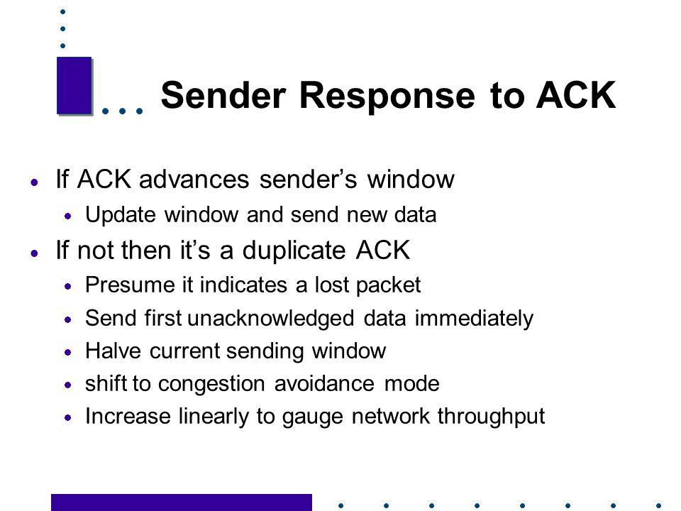 Sender Response to ACK If ACK advances sender's window