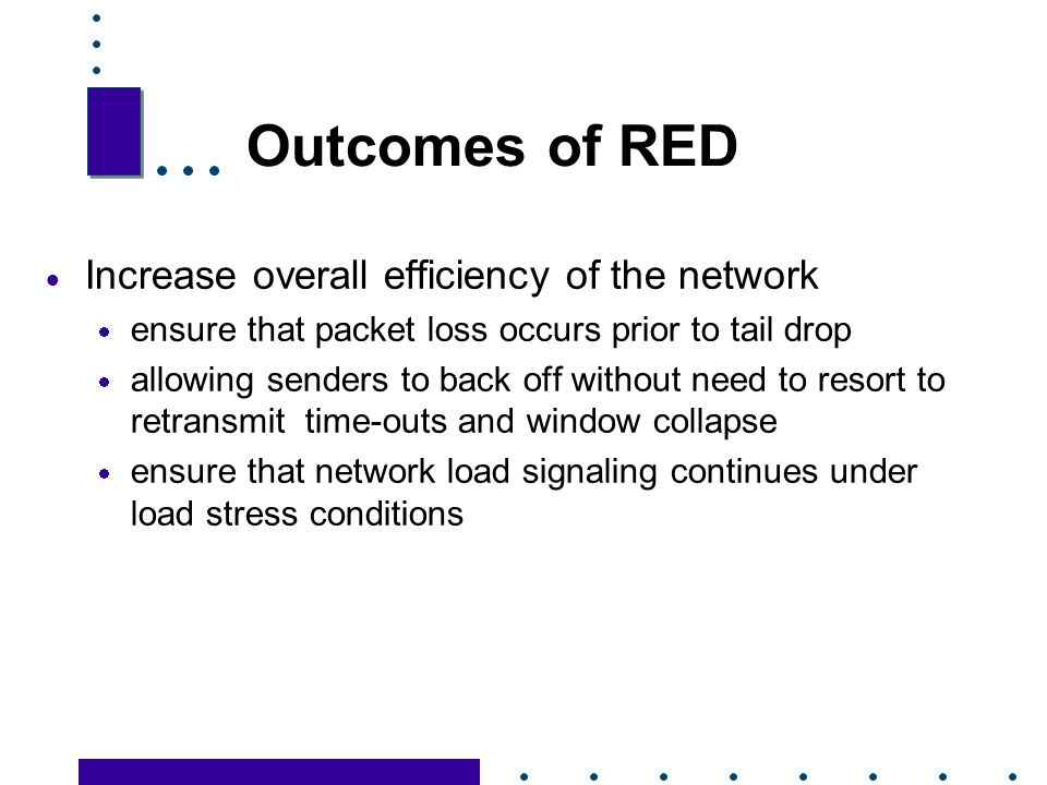 Outcomes of RED Increase overall efficiency of the network