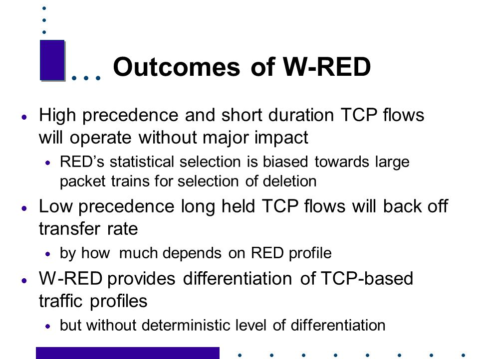 Outcomes of W-RED High precedence and short duration TCP flows will operate without major impact.