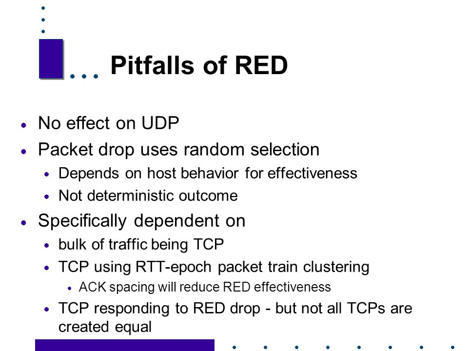 Pitfalls of RED No effect on UDP Packet drop uses random selection