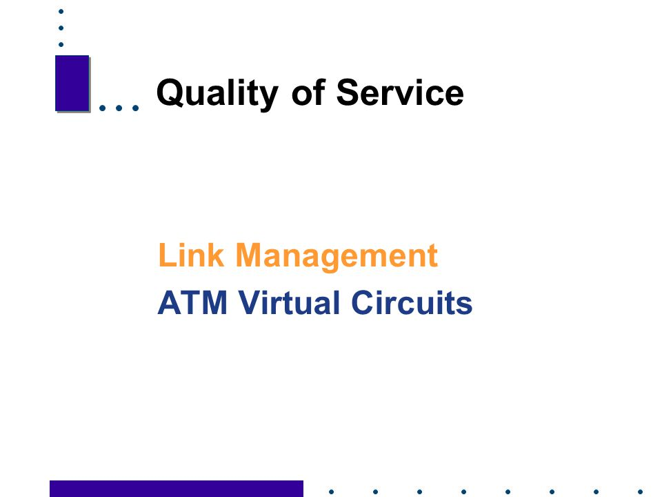 Quality of Service Link Management ATM Virtual Circuits 69 69
