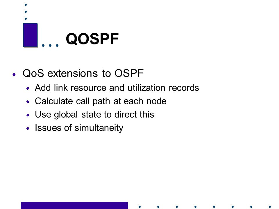 QOSPF QoS extensions to OSPF Add link resource and utilization records