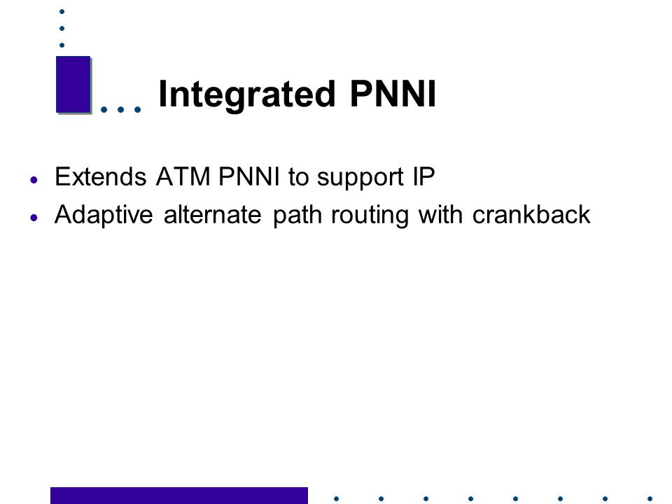 Integrated PNNI Extends ATM PNNI to support IP