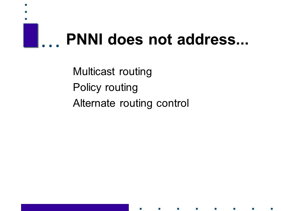 PNNI does not address... Multicast routing Policy routing