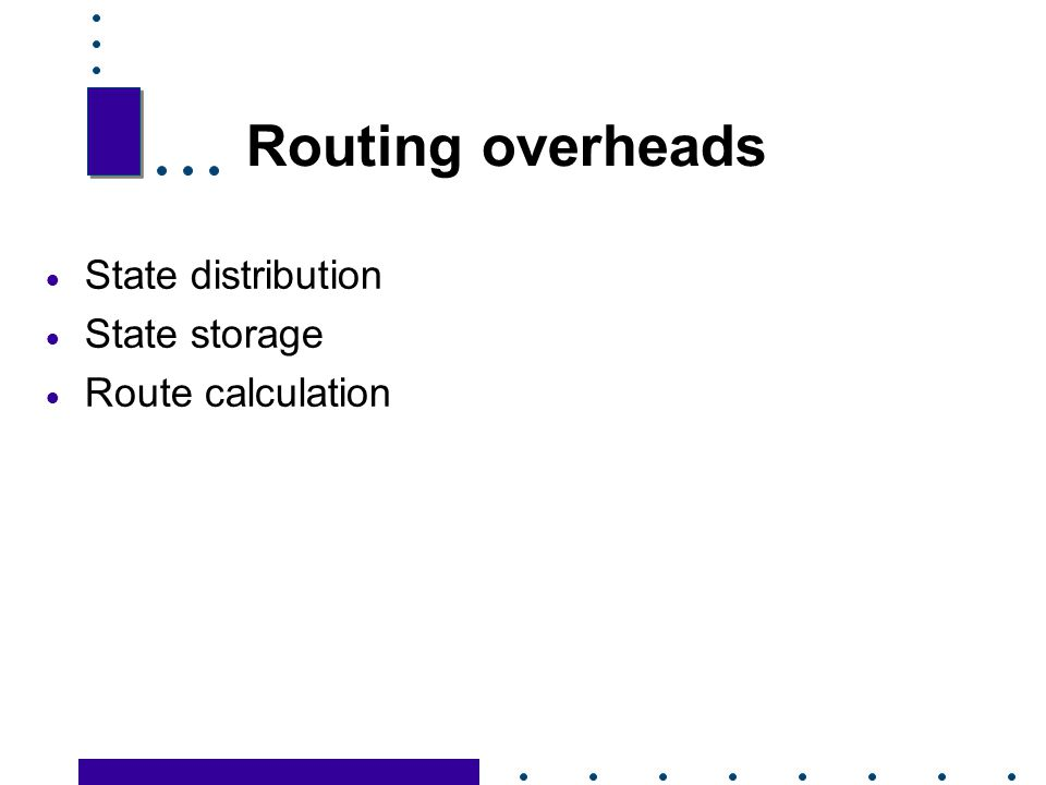 Routing overheads State distribution State storage Route calculation