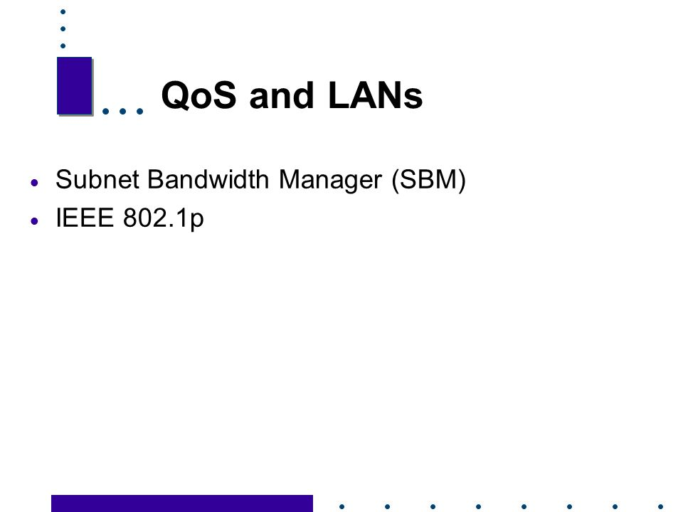 QoS and LANs Subnet Bandwidth Manager (SBM) IEEE 802.1p 30 30