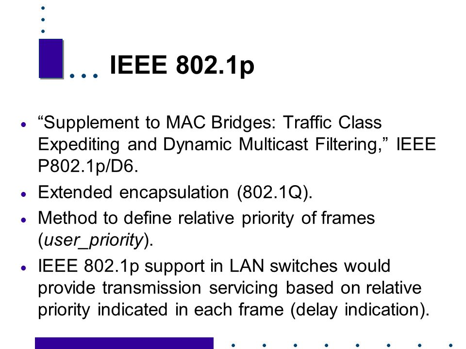 IEEE 802.1p Supplement to MAC Bridges: Traffic Class Expediting and Dynamic Multicast Filtering, IEEE P802.1p/D6.