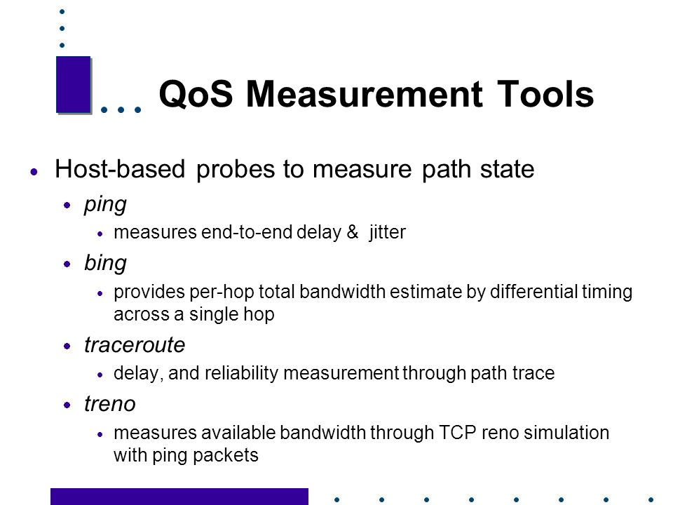 QoS Measurement Tools Host-based probes to measure path state ping