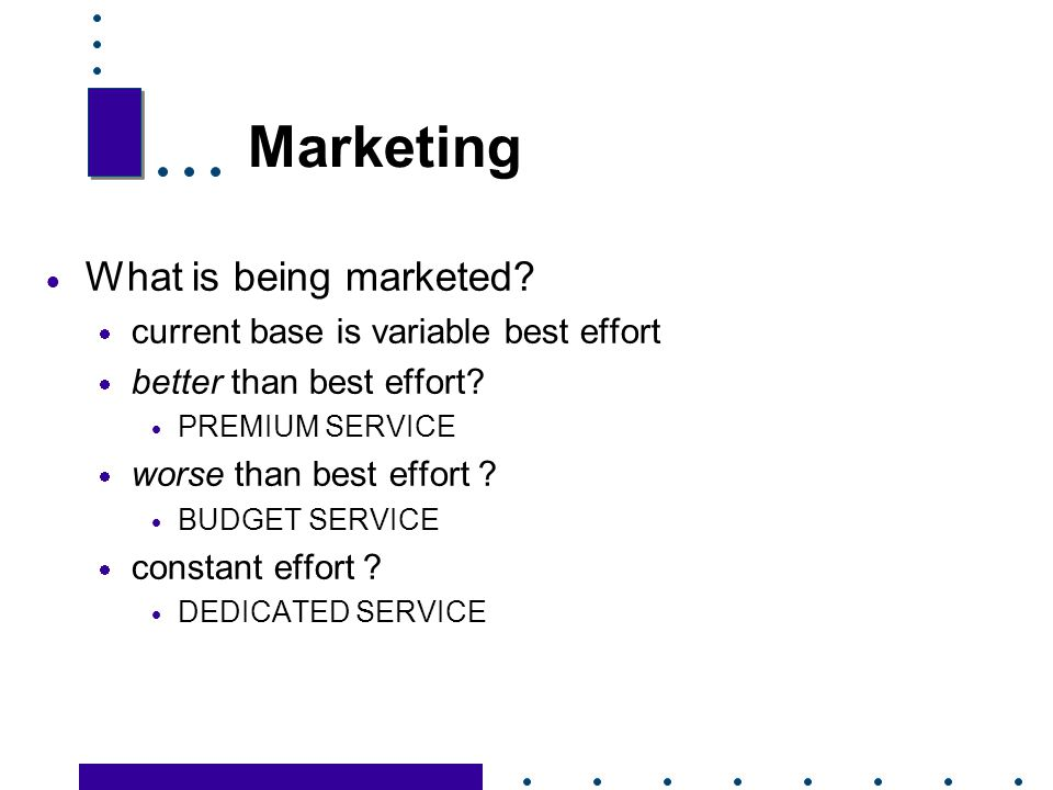 Marketing What is being marketed current base is variable best effort