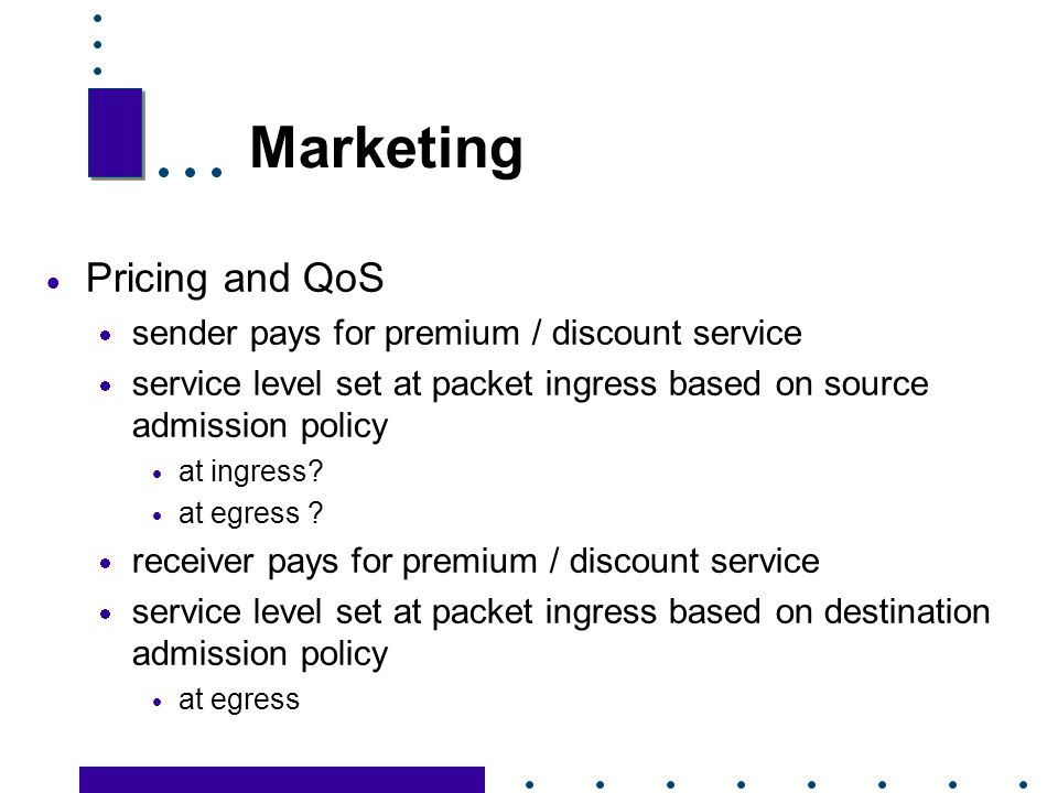 Marketing Pricing and QoS sender pays for premium / discount service
