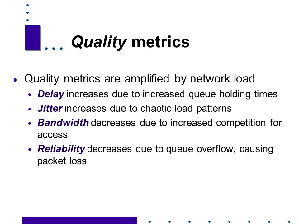 Quality metrics Quality metrics are amplified by network load