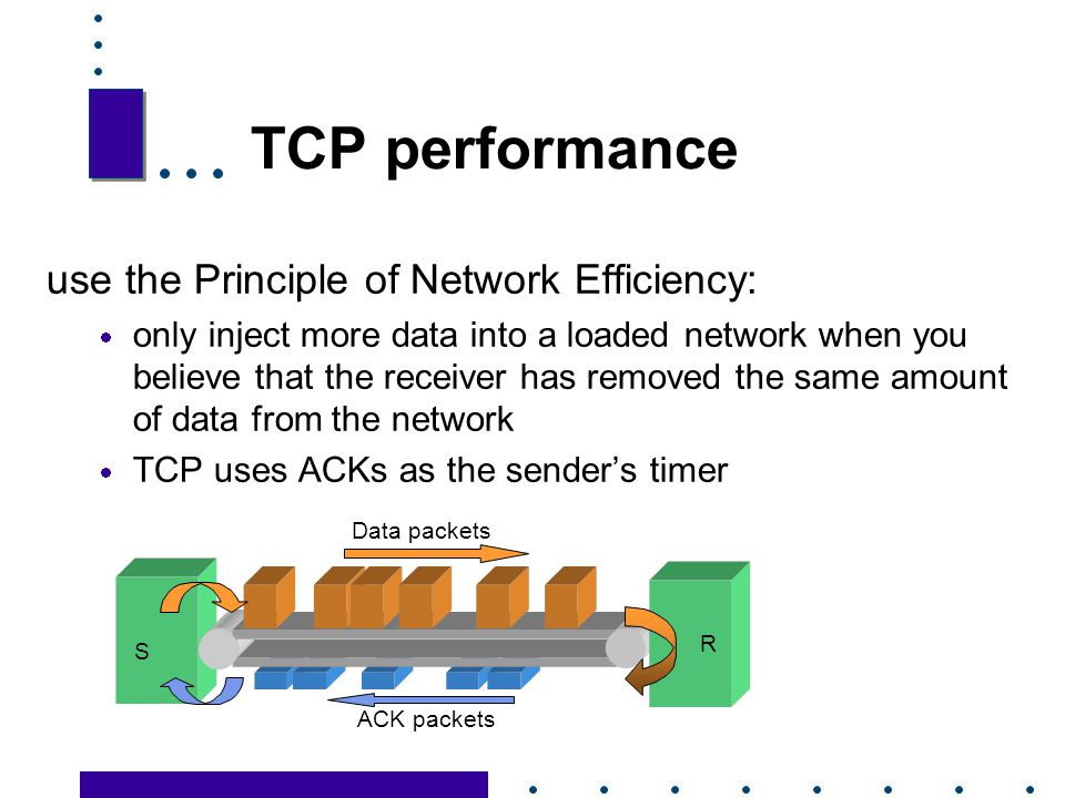 TCP performance use the Principle of Network Efficiency: