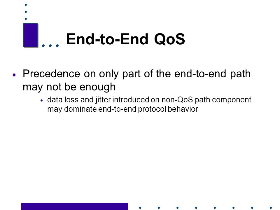 End-to-End QoS Precedence on only part of the end-to-end path may not be enough.