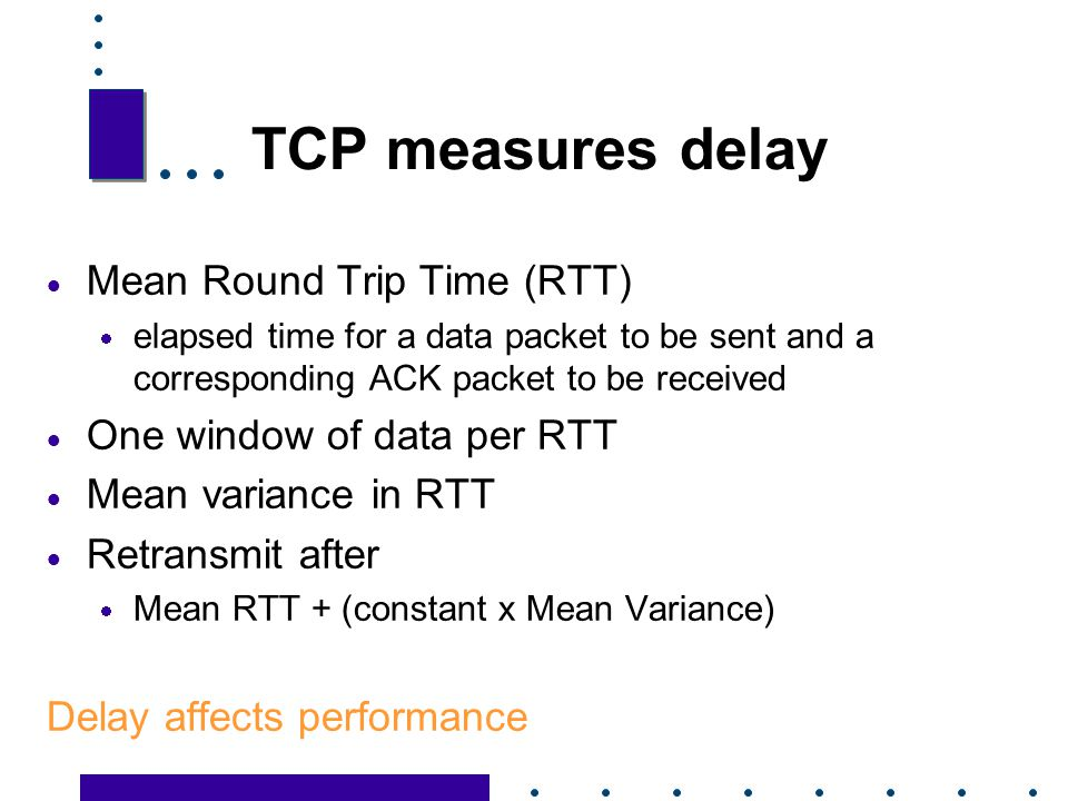 TCP measures delay Mean Round Trip Time (RTT)