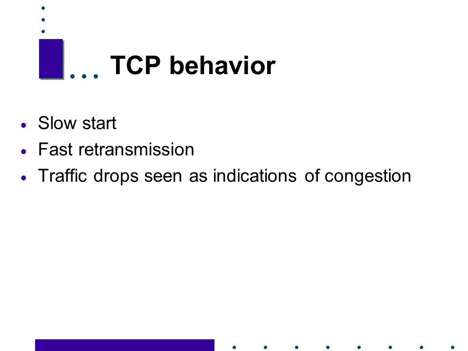 TCP behavior Slow start Fast retransmission