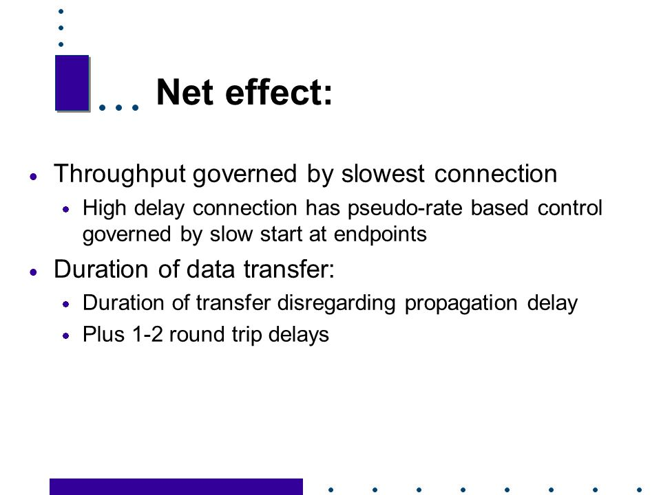 Net effect: Throughput governed by slowest connection