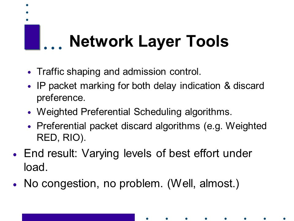 Network Layer Tools Traffic shaping and admission control. IP packet marking for both delay indication & discard preference.