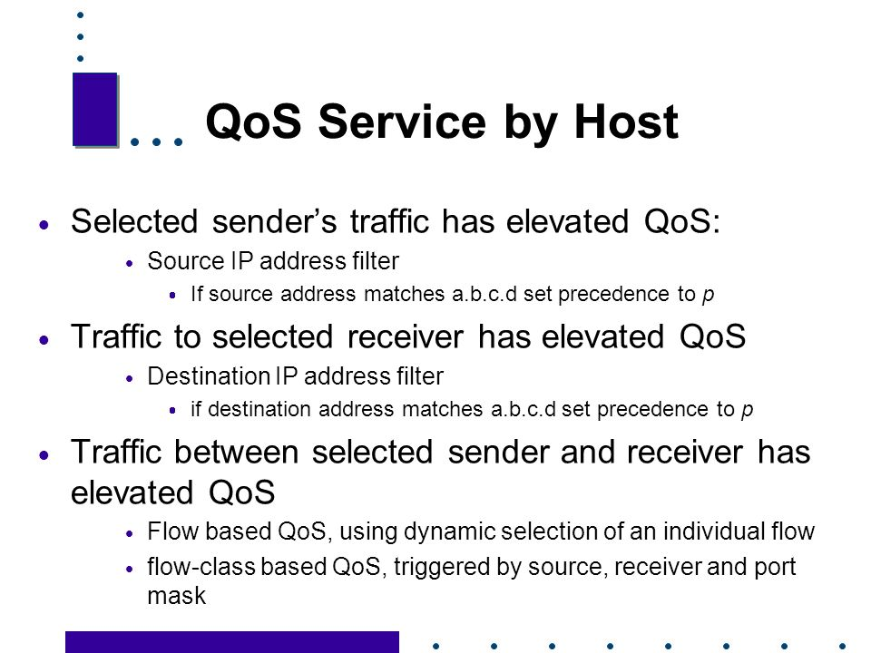 QoS Service by Host Selected sender's traffic has elevated QoS: