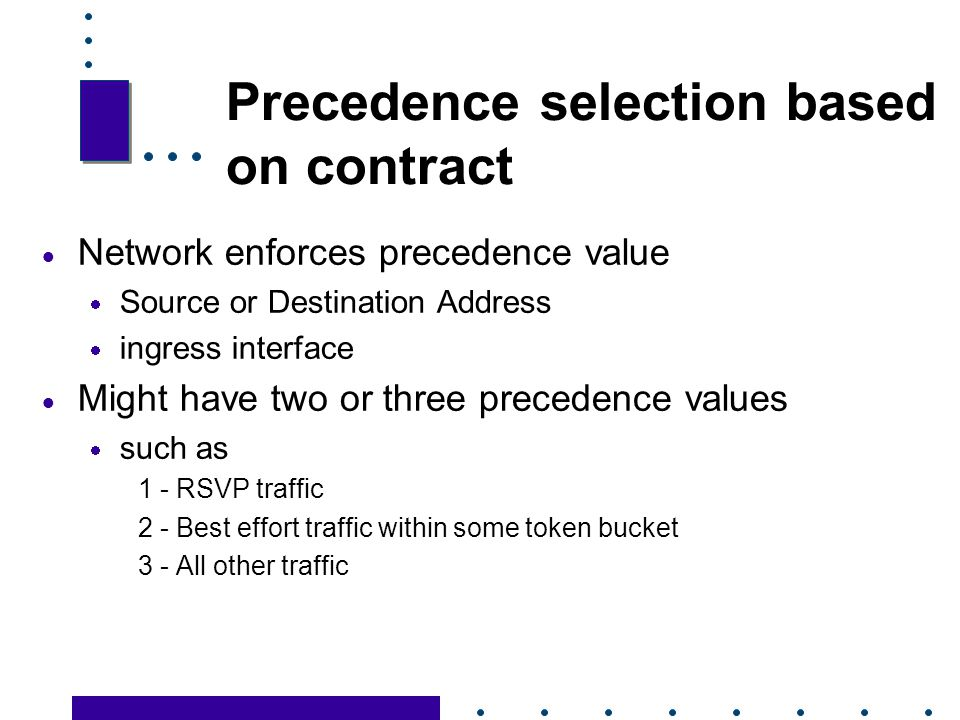 Precedence selection based on contract