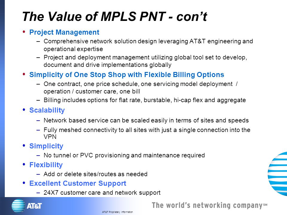 The Value of MPLS PNT - con't