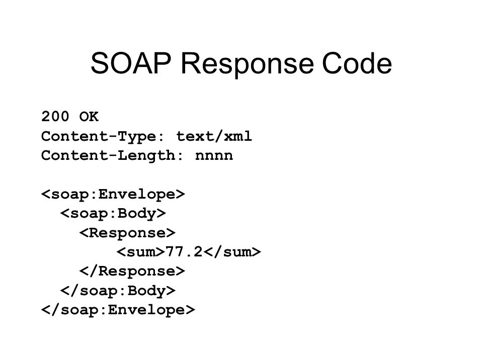 SOAP Response Code 200 OK Content-Type: text/xml Content-Length: nnnn