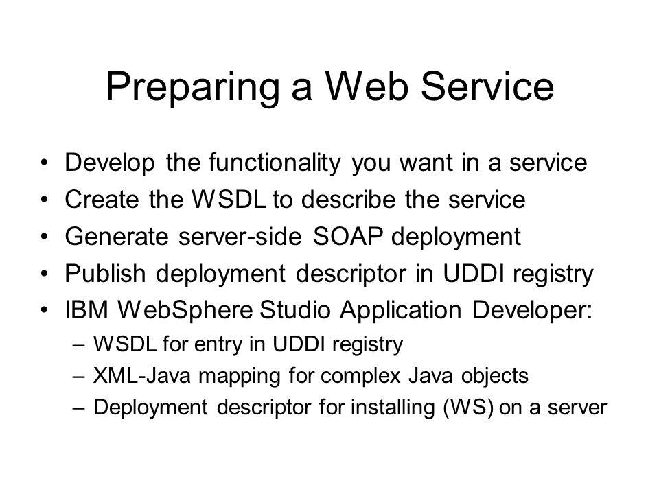Preparing a Web Service