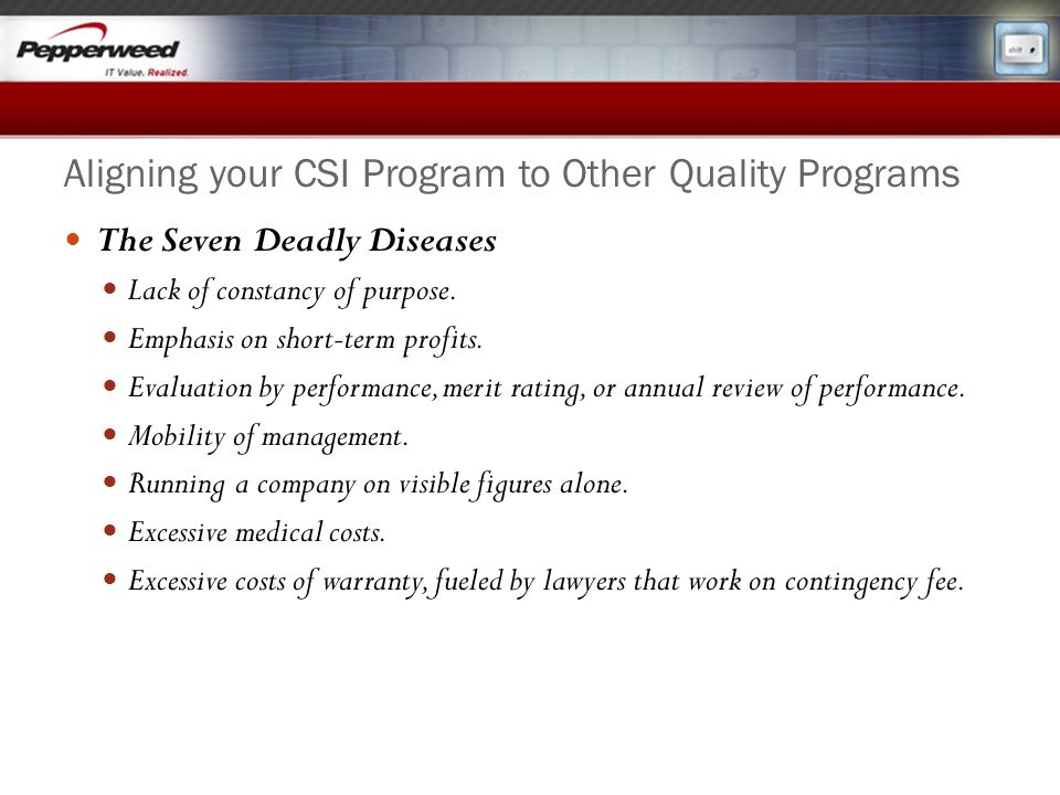 Aligning your CSI Program to Other Quality Programs