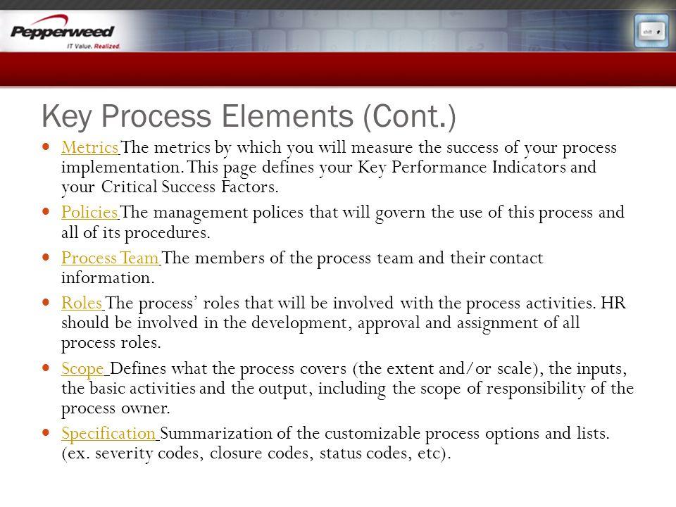 Key Process Elements (Cont.)