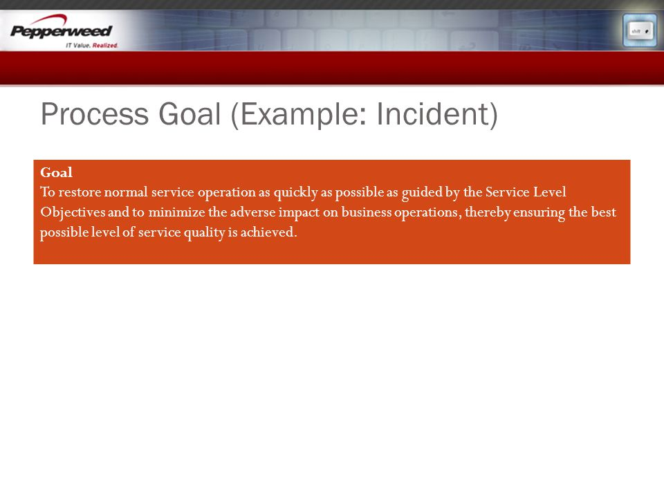 Process Goal (Example: Incident)