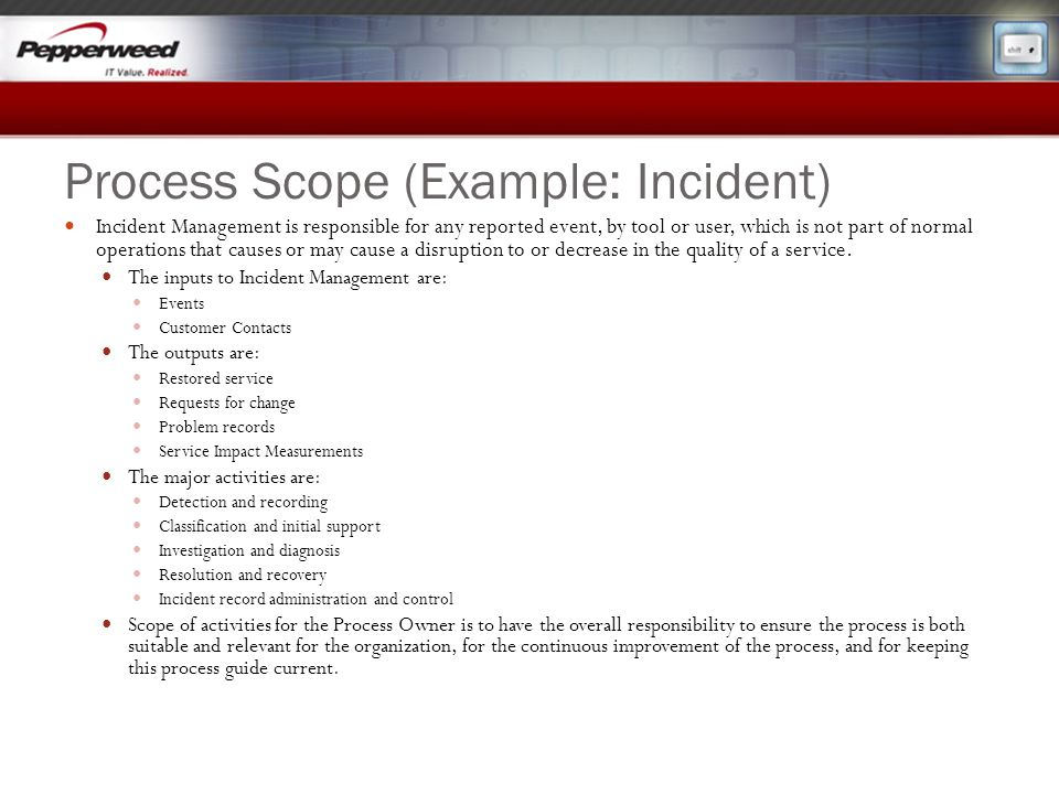 Process Scope (Example: Incident)