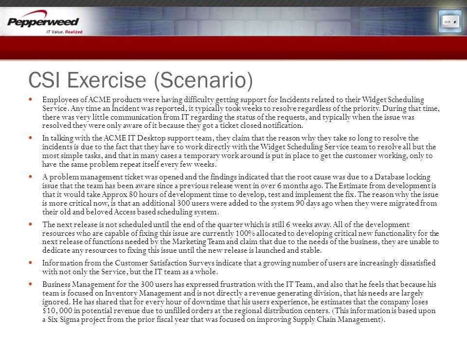 CSI Exercise (Scenario)