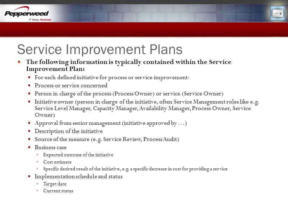 Service Improvement Plans