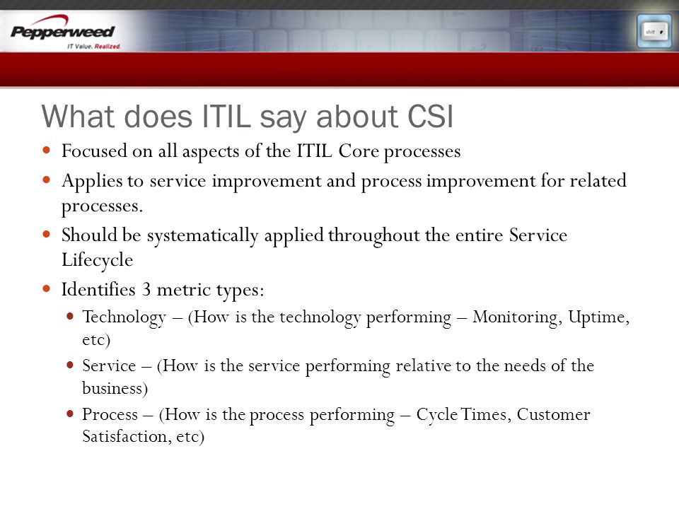 What does ITIL say about CSI