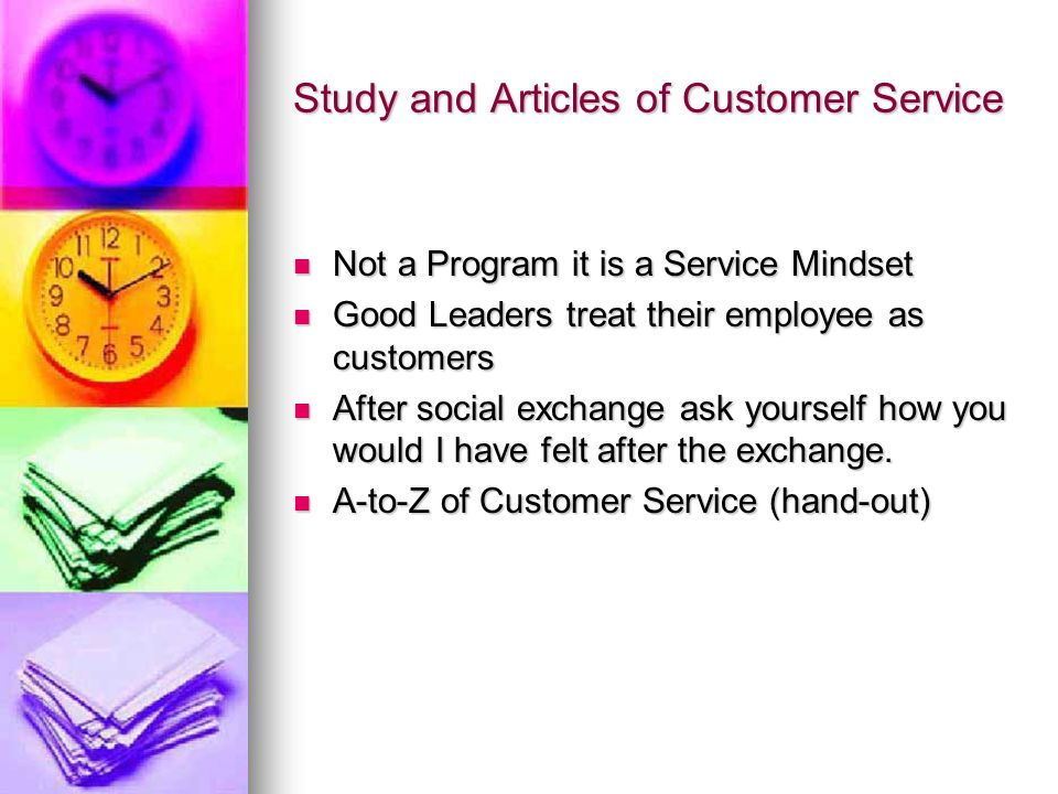 Study and Articles of Customer Service