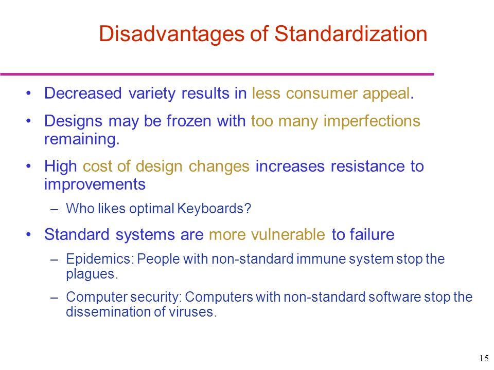 Disadvantages of Standardization
