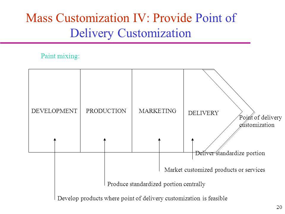 Mass Customization IV: Provide Point of Delivery Customization