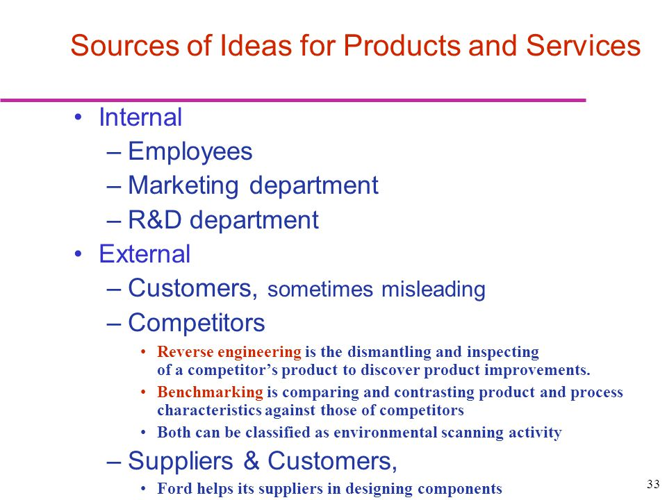Sources of Ideas for Products and Services