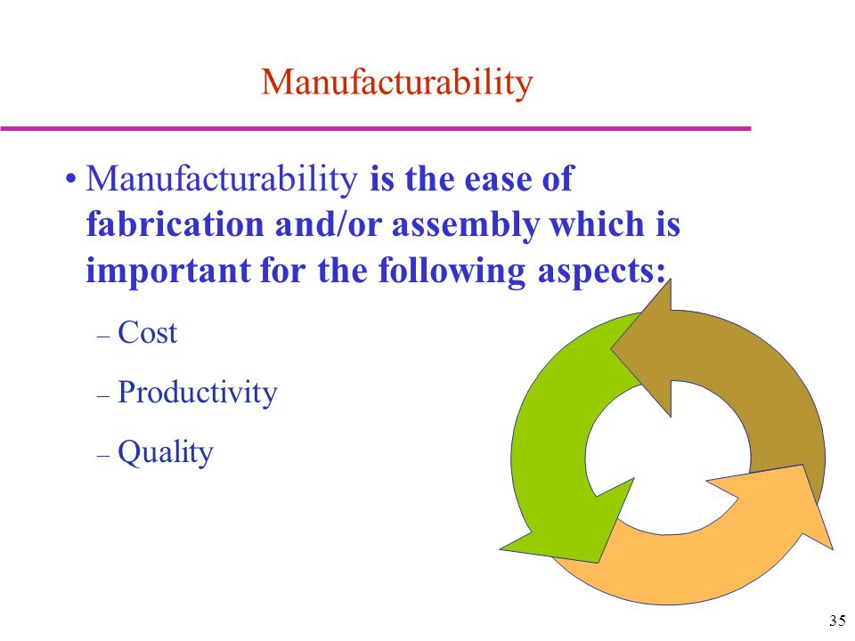 Manufacturability Manufacturability is the ease of fabrication and/or assembly which is important for the following aspects: