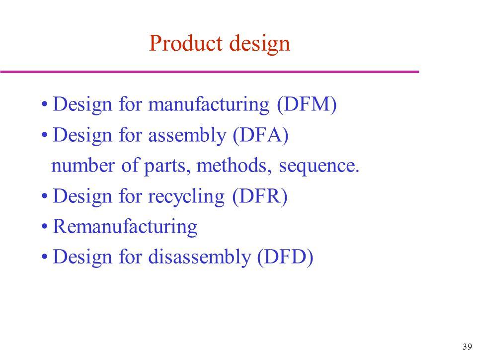 Product design Design for manufacturing (DFM)